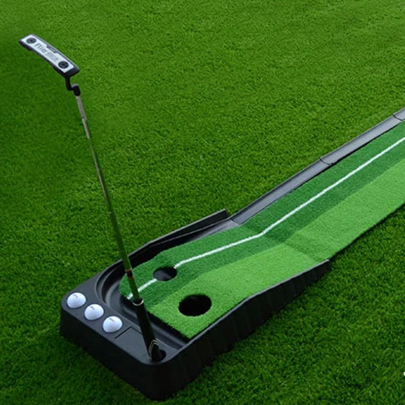 High quality Ball Return Pratice Putter indoor golf green Putting green golf putting mat mini golf putting trainer with automatic ball return indoor artificial grass carpet