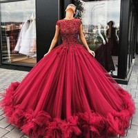 Burgundy Long Prom Gowns 2018 Amazing Ball Gown Vestido de festa Extra Puffy Beaded Tulle Party Dress Custom Made Evening Gowns