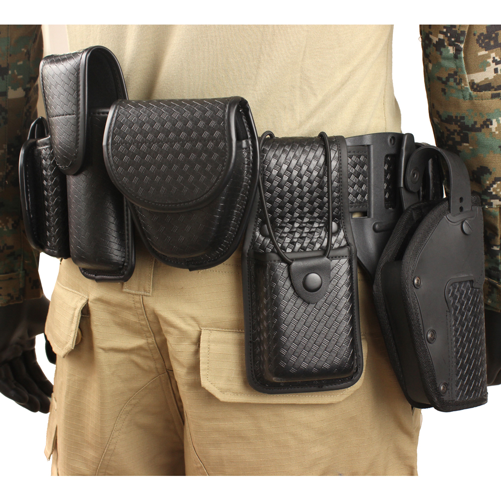ROCOTACTICAL Police 10piece Duty Belt Rig Kit Includes Duty Belt Handcuff Case Radio Holder Belt Keepers MK4 Pouch Basketweave