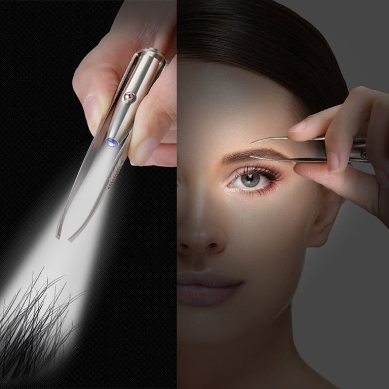 LED Eyebrow Tweezers Portable Stainless Steel Eyebrow Clip With Light Makeup Tools
