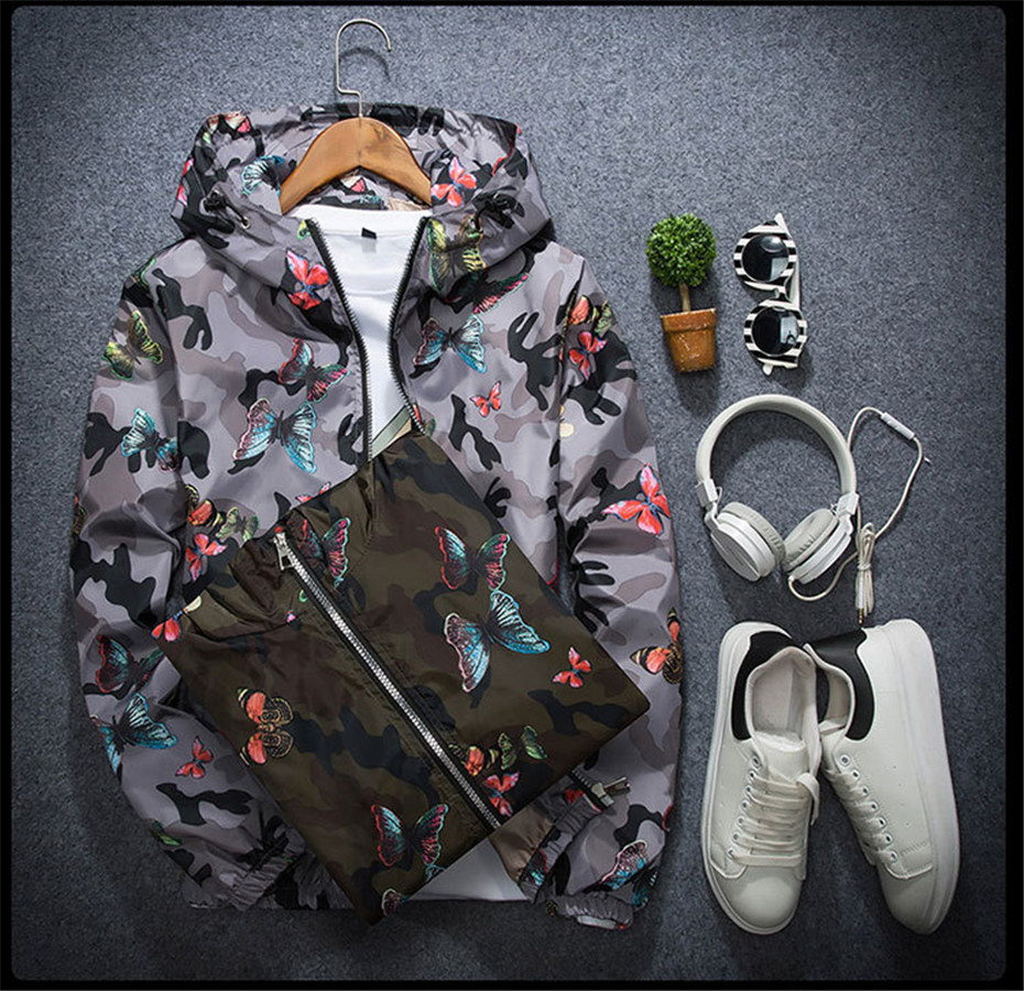 HTB1JvUVB5OYBuNjSsD4q6zSkFXaq Mens Casual Camouflage Hoodie Jacket 2018 New Autumn Butterfly Print Clothes Men's Hooded Windbreaker Coat Male Outwear WS505