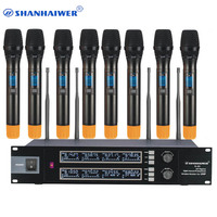 Wholesale factory directly provide 8 channels handheld UHF Wireless Microphone for karaoke lecture 100 frequency points optional