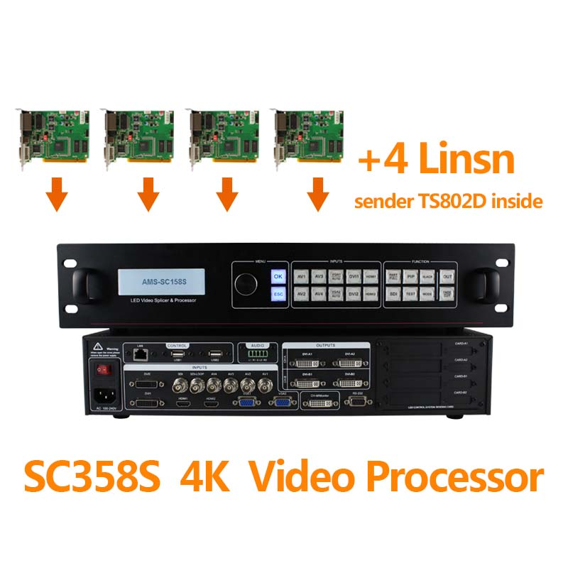 4 linsn ts802d sending video card amoonsky video wall control 3x3 led screen led display audio processor sc358s wholesale linsn control system sending card ts802d for led counter display 11 6 led screen led sign rs232