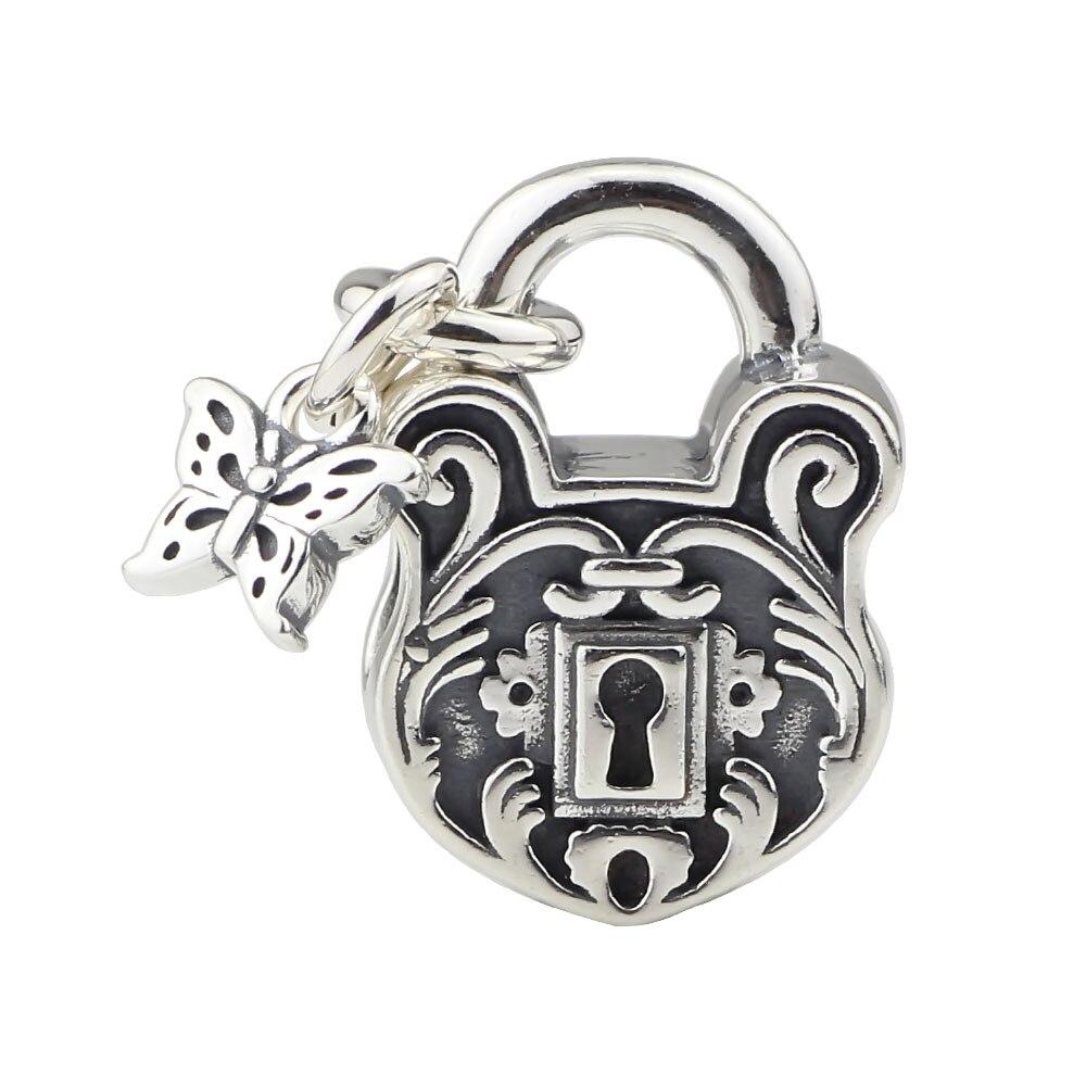 925 argent Sterling coeur serrure de Style ancien et rétro Fit Europe cadeau Bracelet collier pour bijoux à bricoler soi-même faisant la livraison gratuite