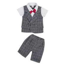 Free Shipping Baby Boy Clothes Sets Bowtie Gentleman Formal Wedding Suit Infant Baby Tops+Pants Outfits Baby Clothing new