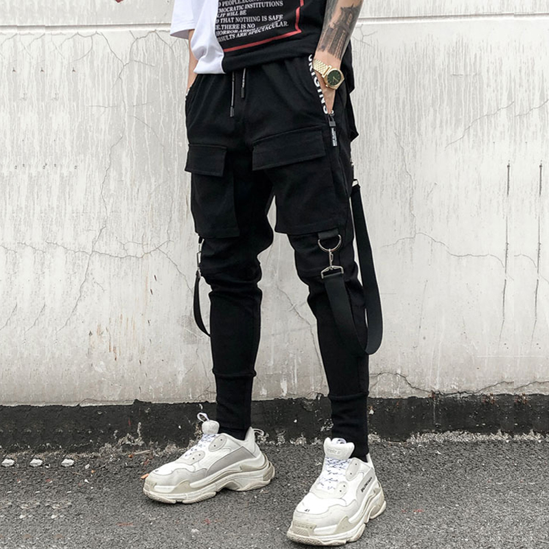 April MOMO 2019 Men Spring Autumn Hip Pop Pencil Pants Trousers Streetwear Hombre Men Cargo Ripped Sweatpants Joggers Long Pants