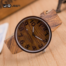 Quartz Watch Males Ladies Lovers Couple's Imitation Wooden PU Wristwatches Basic Clock Relogio Masculino