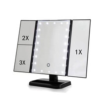 22 Light LED Touch Screen Makeup Mirror Table Desktop Makeup 1X/2X/3X Magnifying Mirrors Vanity 3 Folding Adjustable Mirror(China)