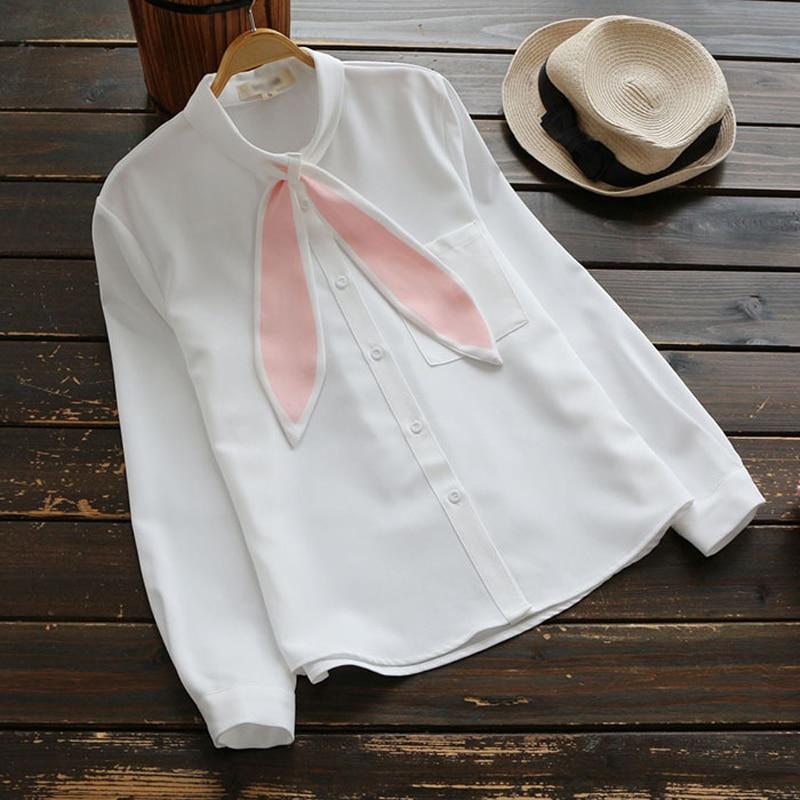 2017 Cute Long Rabbit Ears Bow Collar Blouse Full Sleeve Shirt White Color Spring Autumn Girl Female Tops Blouse YK1806
