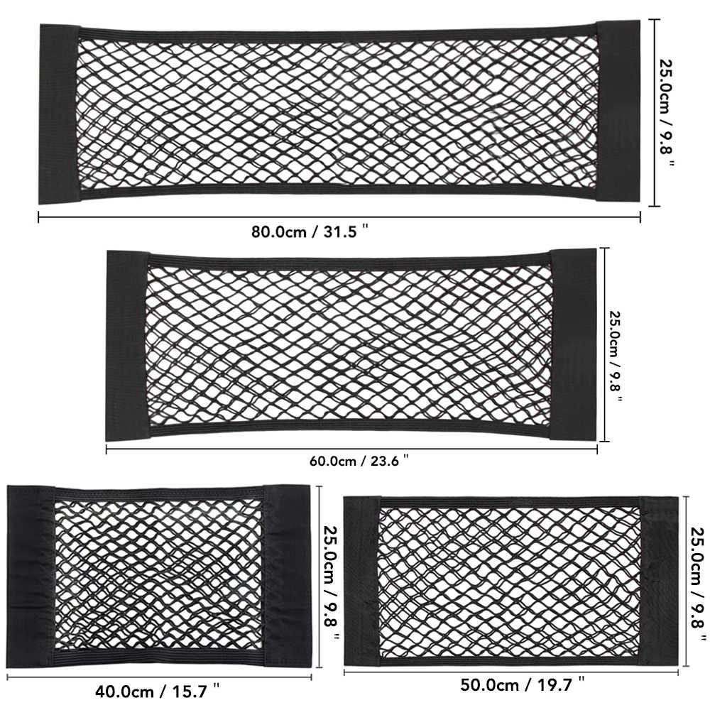 Assento de carro de Volta Traseiro Tronco Corda Elástica Net Etiqueta Mágica Gaiola de Malha Saco De Armazenamento de Bolso Organizador Auto Assento Saco de Volta 40*25 cm