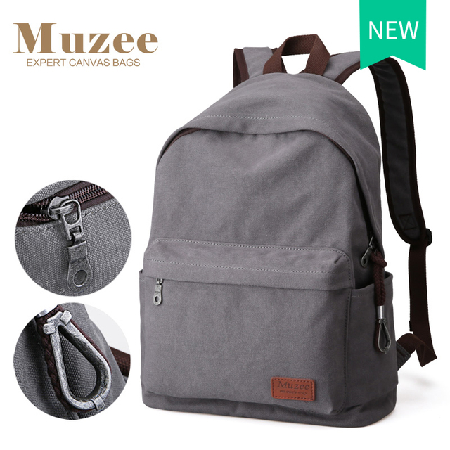 Muzee Canvas Backpack College Student School Backpack Bags Suit for 14 inch Computer and 1-3 Days Trip Backpack