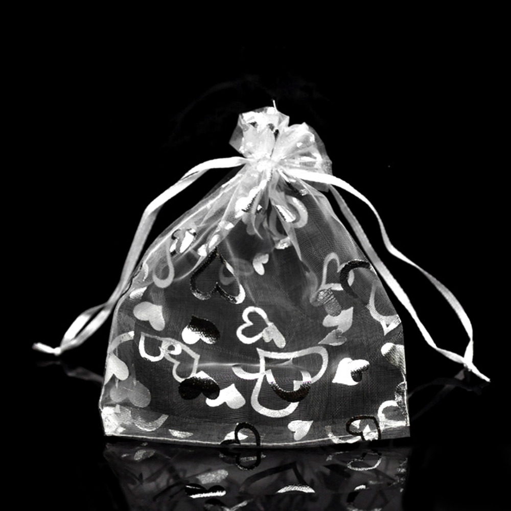 Wedding Favour Ring Organza party Gift Bag White with Silver Heart Prints 9x11cm