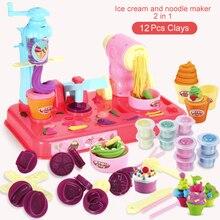 لتقوم بها بنفسك بلايدووغ الطين العجين البلاستيسين الآيس كريم آلة قالب مجموعة اللعب لتقوم بها بنفسك لعبة اليدوية صانعة النودلز المطبخ لعبة الاطفال هدية