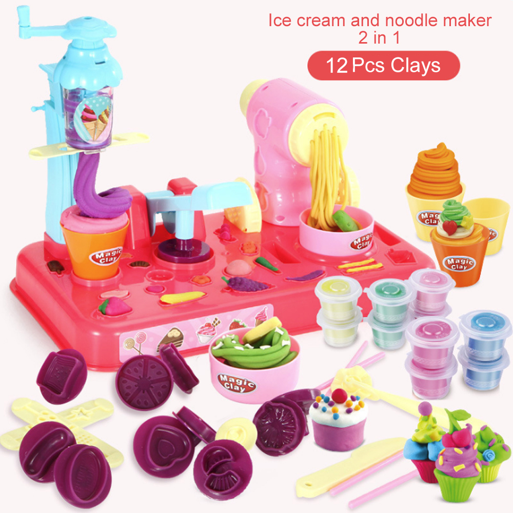DIY Playdough Clay Dough Plasticine Ice Cream Machine Mould Play Kit DIY Toy Handmade Noodle Maker Kitchen Toy Kids Gift