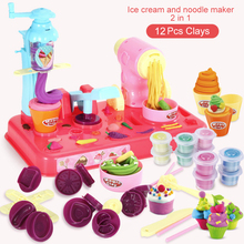 DIY Playdough Clay Dough Plasticine Ice Cream Machine Mould Play Kit DIY Toy Handmade Noodle Maker Kitchen Toy Kids Gift