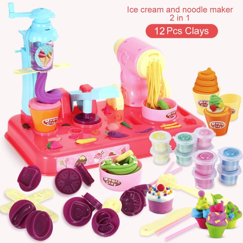 DIY plastilina masa de barro plastilina helado molde de la máquina de juego Kit DIY juguete hecho a mano fabricante de fideos cocina regalo niños regalo para niños Juguetes