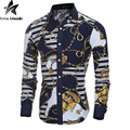 2016 New Arrival Men's Classic Retro Shirt Floral Printing Slim Causal Long Sleeve Shirts Fit Cotton Turn-down Collar MT140