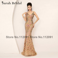 AJ016 Hot Sale Champagne Mermaid Prom Evening Dresses 2014 Vestido De Festa Crystal Long Evening Dresses