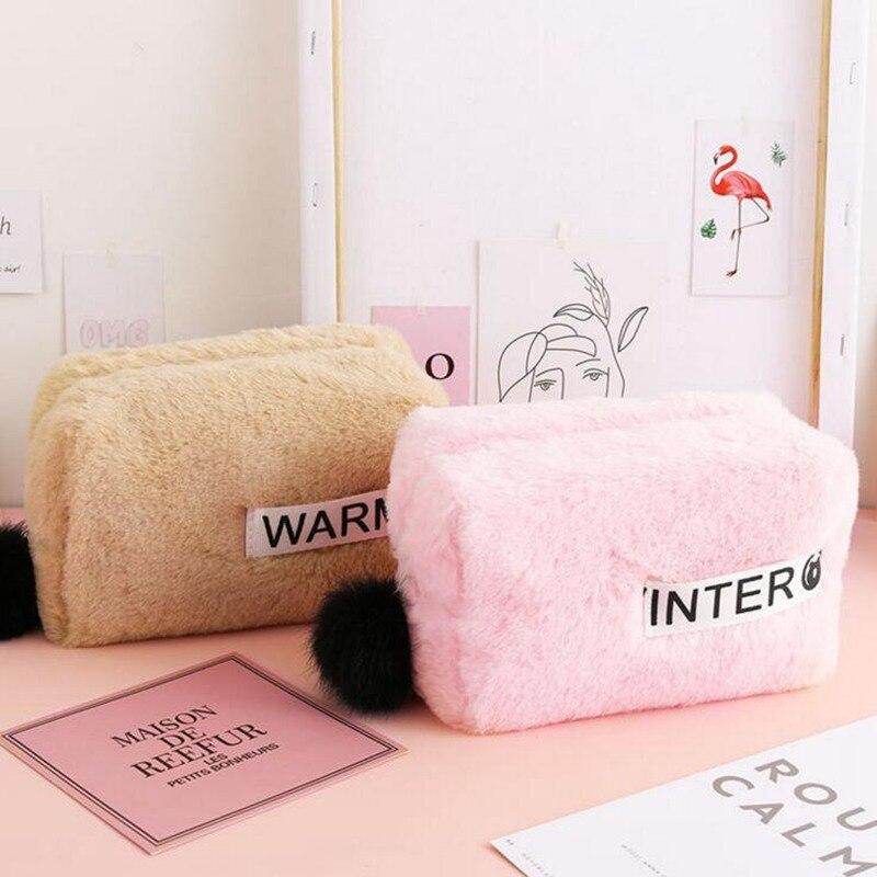 Large Capacity Plush Cosmetic Bag Zipper Solid Color Make Up Beauty Case Toiletries Ladies Women Storage Travel Makeup Bag