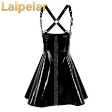 High Quality Sexy Women Black PVC Zipper Latex Leather Wet Look Bodycon Dress Clubwear Pole Dance Costume Laipelar