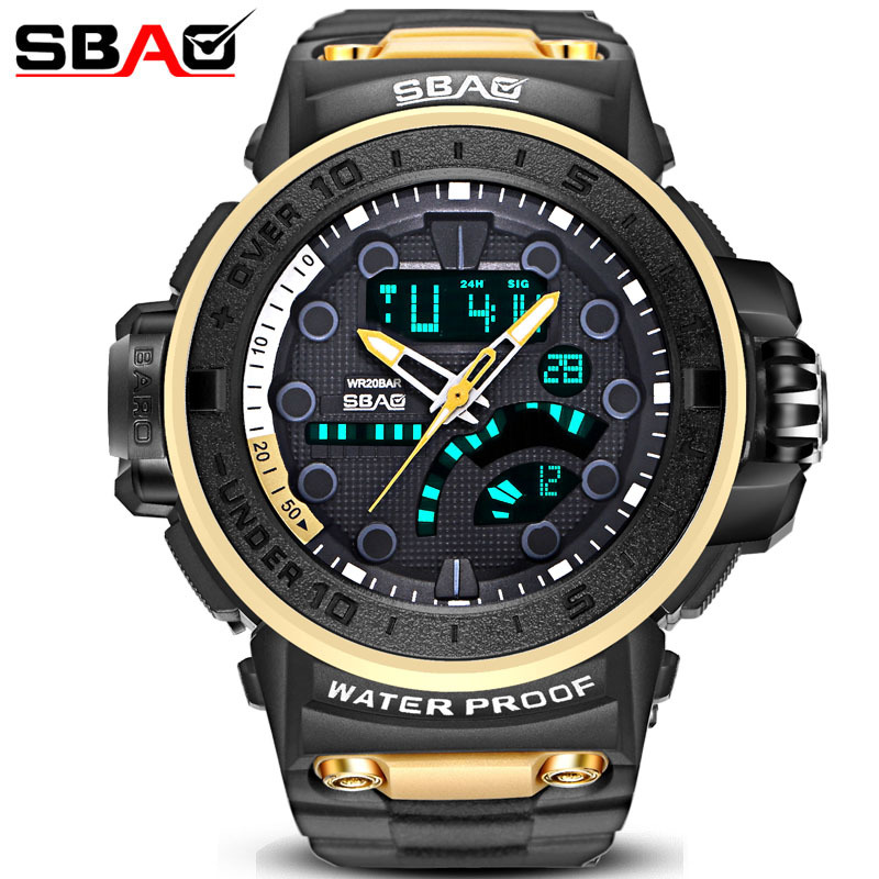 лучшая цена 2018 Fashion SBAO New Arrival Men Sports Watch Male Digital Multi-Functional Electronic Military Student Big Dial Clock Relogio