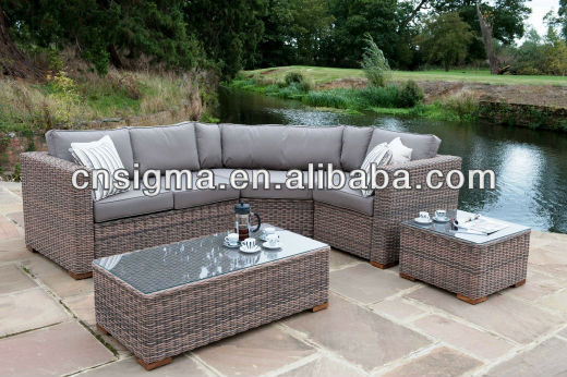 2017 new design all weather corner range fancy rattan outdoor furniture sofa set