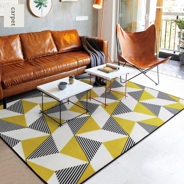 European Simple Style Abstract Design Yellow Geometric Pattern Rectangular Rug Non Slip Bedroom Room Large