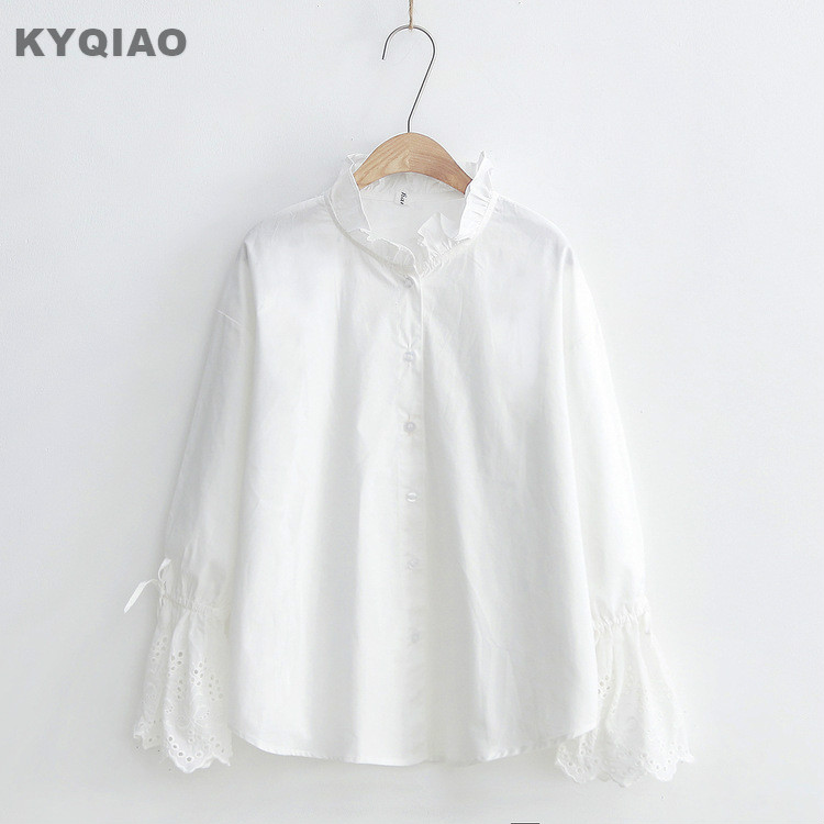 Kyqiao Women White Shirt Female Autumn Spring Japanese Style Brief Long Sleeve White Cross-stitch Blouse Blusas Mujer De Moda Moderate Price Blouses & Shirts
