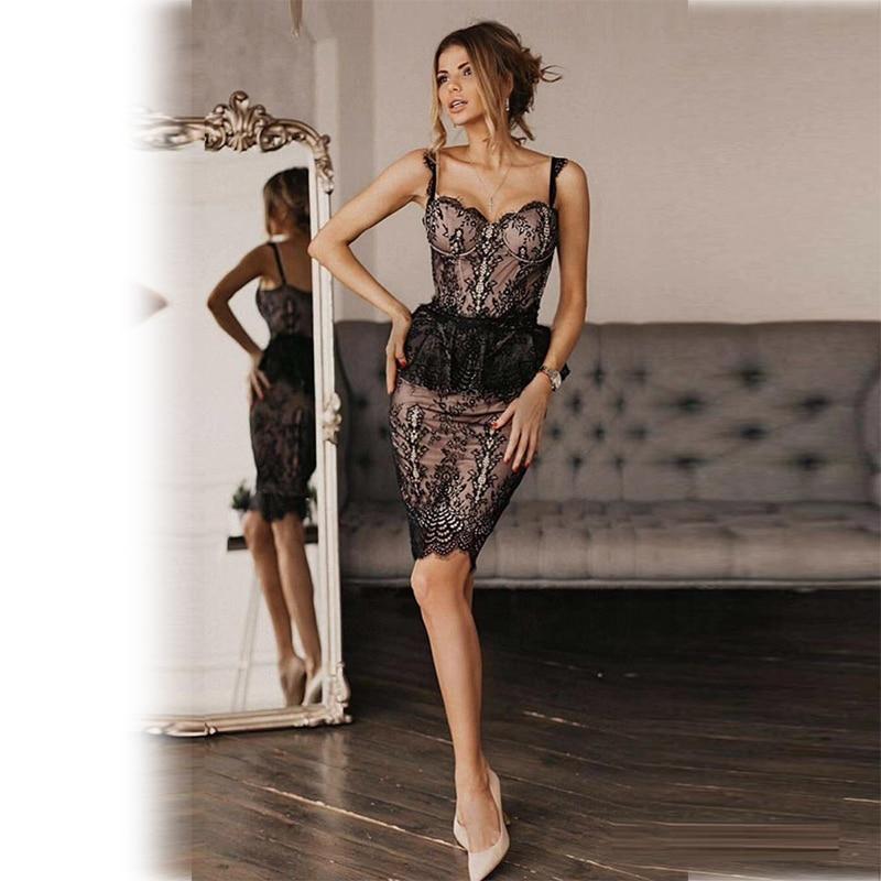 Date été robe mode femmes Sexy dentelle Spaghetti sangle Bandage robe noir sans manches Style fête robes en gros 2019