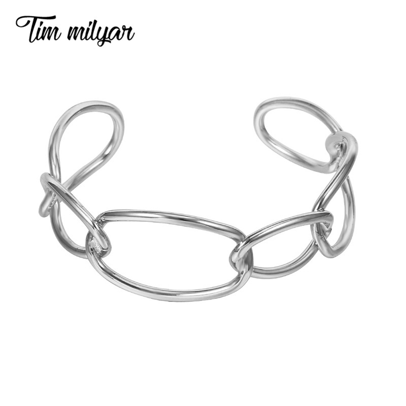 Tim Milyar Women Bangles 2018 Fashion Contracted Gold Color Silver Cuff Bangles Lock Chain Bracelet Jewelry TMB-0319