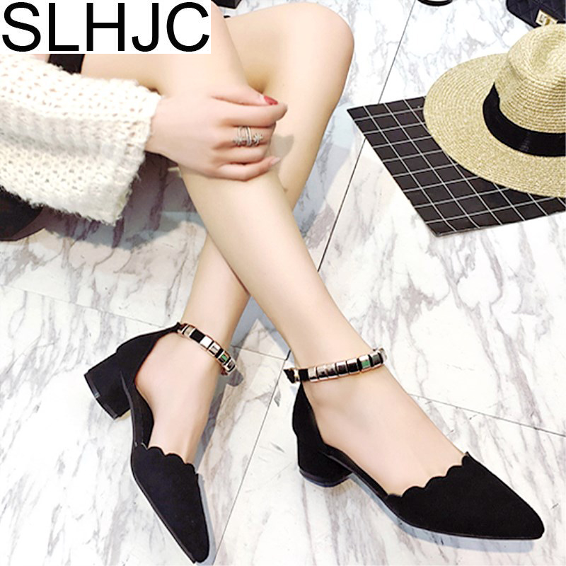 SLHJC 2018 Spring Summer Shoes Low Heel Ankle Metal Bead Strapped Pumps Shoes Women Casual Pointed Toe Sandals 3 CM Heel 2018 spring summer low heel sandals pointed toe shallow mouth women shoes woman cozy casual shoes leisure single ladies shoes cy