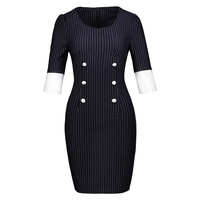 Women S Vintage Dresses 2018 New Spring Autumn Black Stripe White Color Block Patchwork Button Sheath