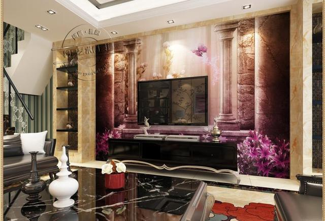 Living Room Tiles Wall Paint Color Ideas For With Dark Wood Trim 3d Floor Tv Background Tile Elegant European Style Stereo Column Of Rome Dream Door New Fashion