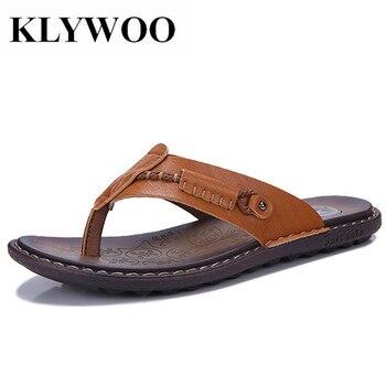 KLYWOO ビッグサイズ 38-47 ブランドの夏のビーチフリッププスリッパ男性フラットビーチサンダル屋外ゴムメンズ靴