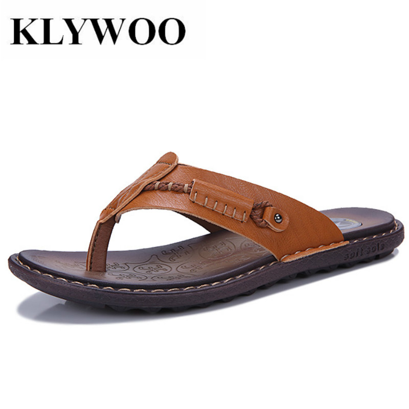 KLYWOO Big Size 38-47 Brand Summer Beach Flip Flops Men Leather Slippers Male Flats Beach Sandals outdoor Rubber Mens Shoes