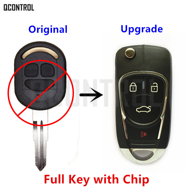 QCONTROL Upgraded Car Remote Key DIY for Chevrolet Lacetti Optra Nubira Vehicle Flip Pocket Alarm 2005