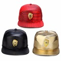 Adjustable PU Hip Hop Golden Rhinestone Lion Head Logo Baseball Cap Men PU Leather Casual Unisex Outdoor Hat Gold/Black Snapback