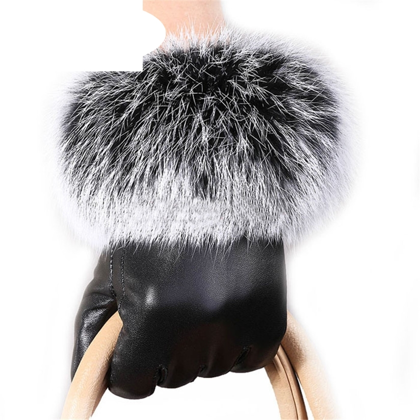 Hot Marketing Hot Selling Women leather Gloves Autumn Winter Warm Rabbit Fur gloves Mittens Free Shipping Wholesale