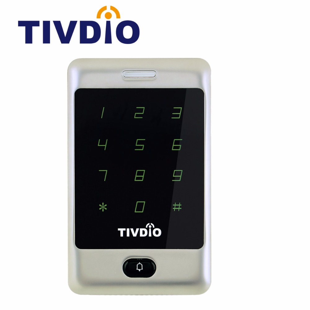 TIVDIO T-AC01 RFID Door Access Control System 12V Touch Keypad Access Control Panel 125KHZ KDL Metal Case Shell Backlight F9503D free shipping waterproof metal rfid access control touch keypad with green backlight and wg26 34 for door access control system
