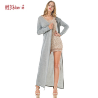 Drop Shipping Women Cardigans Thin Sweater Coat Knitted Long Sleeve Drape Open Black Grey Sweaters Maxi