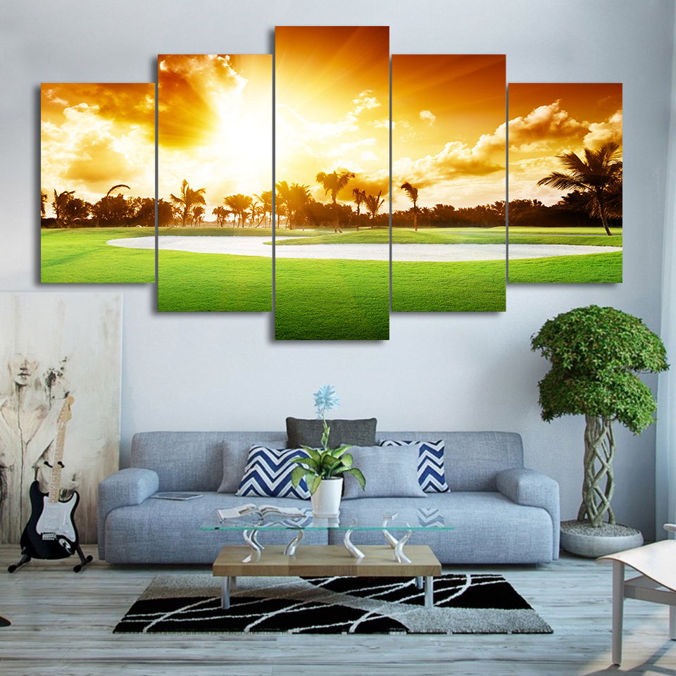 HD Printed Canvas Wall Art Poster Framed Living Room Home Decor 5 Pieces  Golf Course PaintingOnline Get Cheap Framed Golf Art Aliexpress Com Alibaba  Group