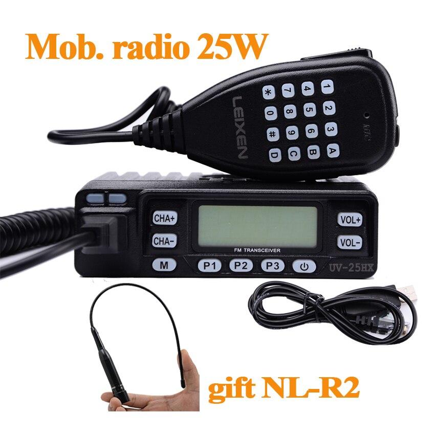 Leixen UV-25HX Min Auto Walkie Talkie Dual-Band VHF UHF Mobiele Radio Twee manier Ham Radio HF Transceiver Voor Jacht Radio Station