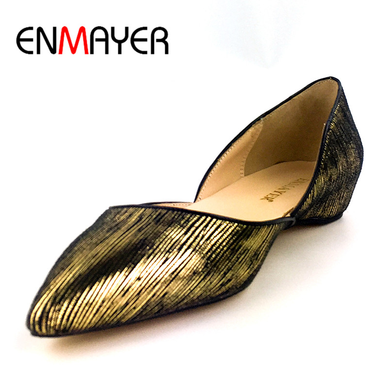 Фотография ENMAYER Poined Toe Genuine Leather Shoes Woman Shallow Summer Flats Plus Size 35-46 Boat Shoes Golden Colors Flat