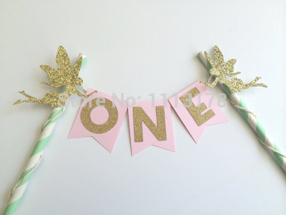Fairy Pink Gold and Mint Cake Bunting Banner 1st Birthday Cake