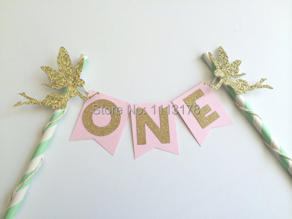 Fairy Pink Gold And Mint Cake Bunting Banner 1st Birthday Decor Princess Party Baby Shower