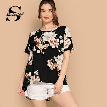 7ec566aca09c9 Product Offer. Sheinside плюс размер черная блузка с цветочным принтом  женская 2019 летняя элегантная Асимметричная ...