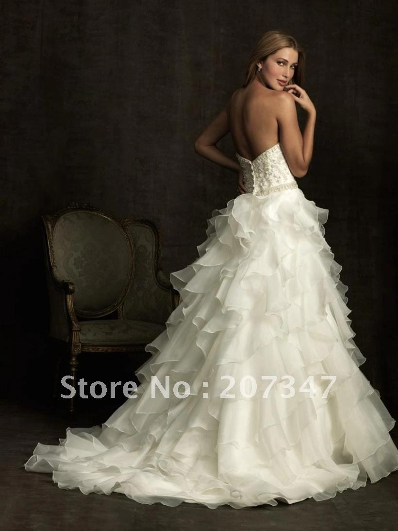 Free shipping! hot sale !strapless ruffles multi layers wedding gown ...