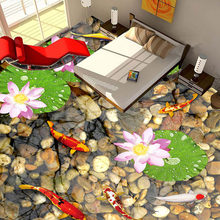 3D Stereoscopic Floor Tile Mural Classic Pebbles Lotus Carp Photo Wallpaper Sticker Bedroom Kitchen Wear Non-slip PVC Wall Paper(China)