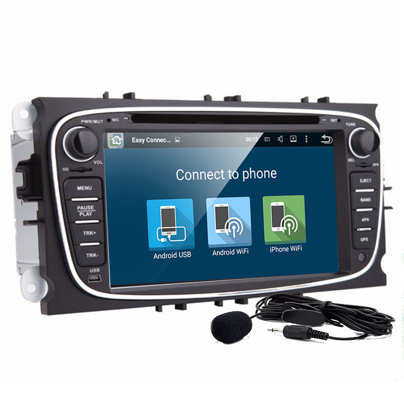 Free shipping 7inch Android 6.0 Car DVD Player For FORD Focus Mondeo dvd car 2Din With Wifi GPS Navi Radio free Map swc+camera