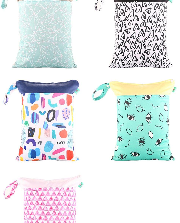 HTB1JvVwXyfrK1RjSspbq6A4pFXaq Elinfant 1PC Reusable Waterproof Fashion Prints Wet Dry Diaper Bag Double Pocket Cloth Handle Wetbags 30*40CM Wholesale